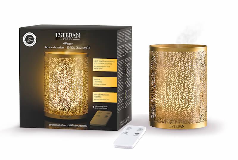 Levně Estéban Paris Parfums ULTRASONICKÝ DIFUZÉR ESTEBAN - OR & LUMIERE, GOLD & LIGHT EDICE 100 ml